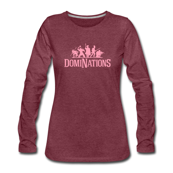 Women's DomiNations Pink Logo Long Sleeve T-Shirt - heather burgundy
