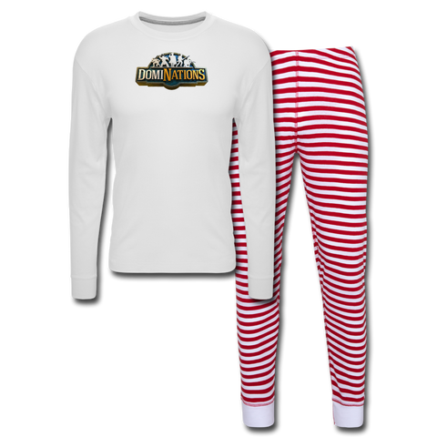 DomiNations Holiday Pajama Set - white/red stripe
