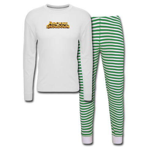 Arcane Showdown Holiday Pajama Set - white/green stripe