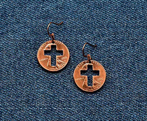 Christian Cross Cut Penny Earrings