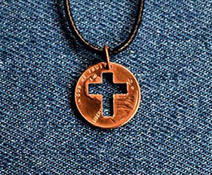 Christian Cross Cut Penny Pendant