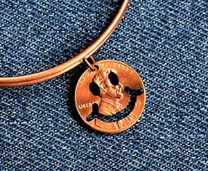 Smiley Face Cut Penny Bangle