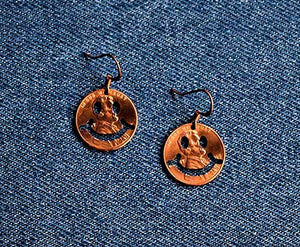 Smiley Face Cut Penny Earrings