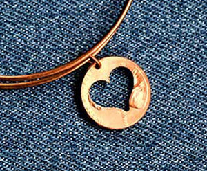 Heart Cut Penny Bangle