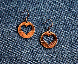 Heart Cut Penny Earrings