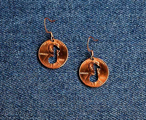 Note Cut Penny Earrings