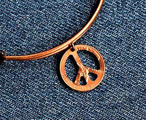 Peace Sign Cut Penny Bangle