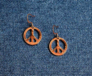 Peace Sign Cut Penny Earring