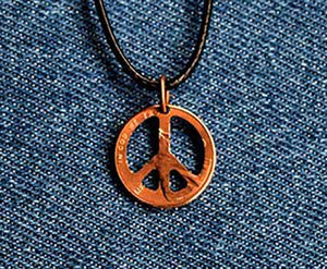 Peace Sign Cut Penny Pendant