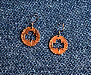 Shamrock Cut Penny Earrings