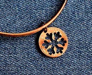 Snowflake Cut Penny Bangle