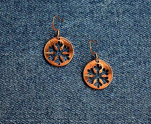 Snowflake Cut Penny Earrings