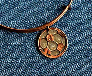 Cut Penny Soccer Ball Bangle