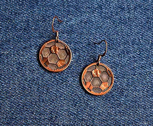 Soccer Ball Cut Penny Earrings