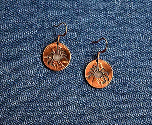Spider Cut Penny Earrings