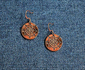 Spider Web Cut Penny Earrings