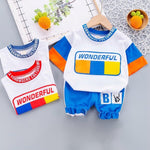 Letter Printing T-Shirts + Shorts Set - MonkeyPiggy