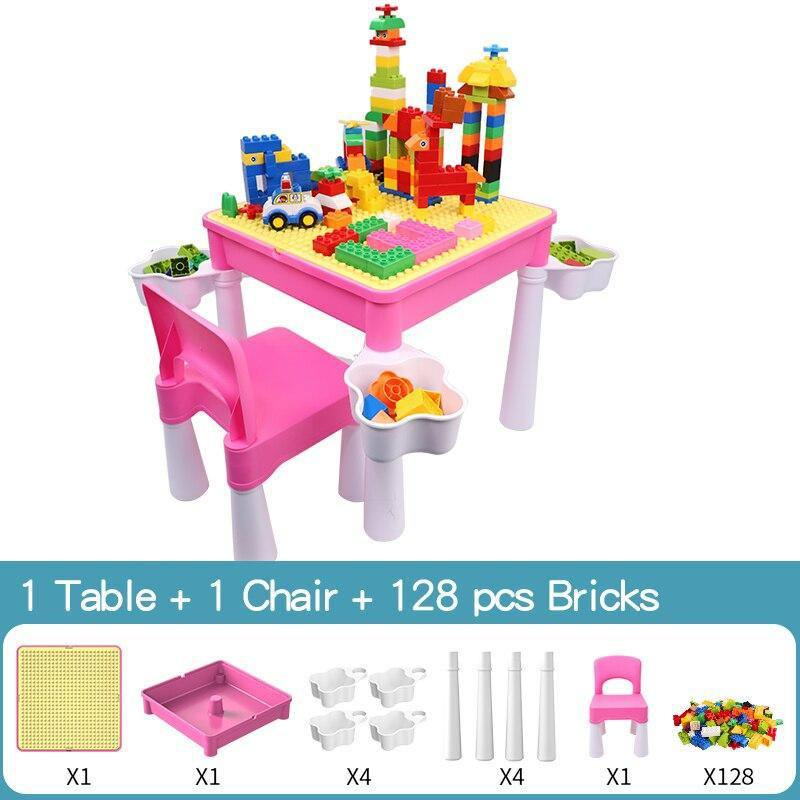 Activity Table Set with Double-sided Desktop and 128 Pcs Building Blocks - MonkeyPiggy