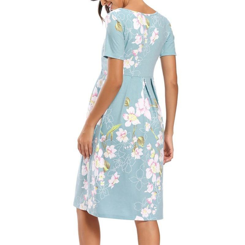 Floral Soft Knee Length Dress - MonkeyPiggy