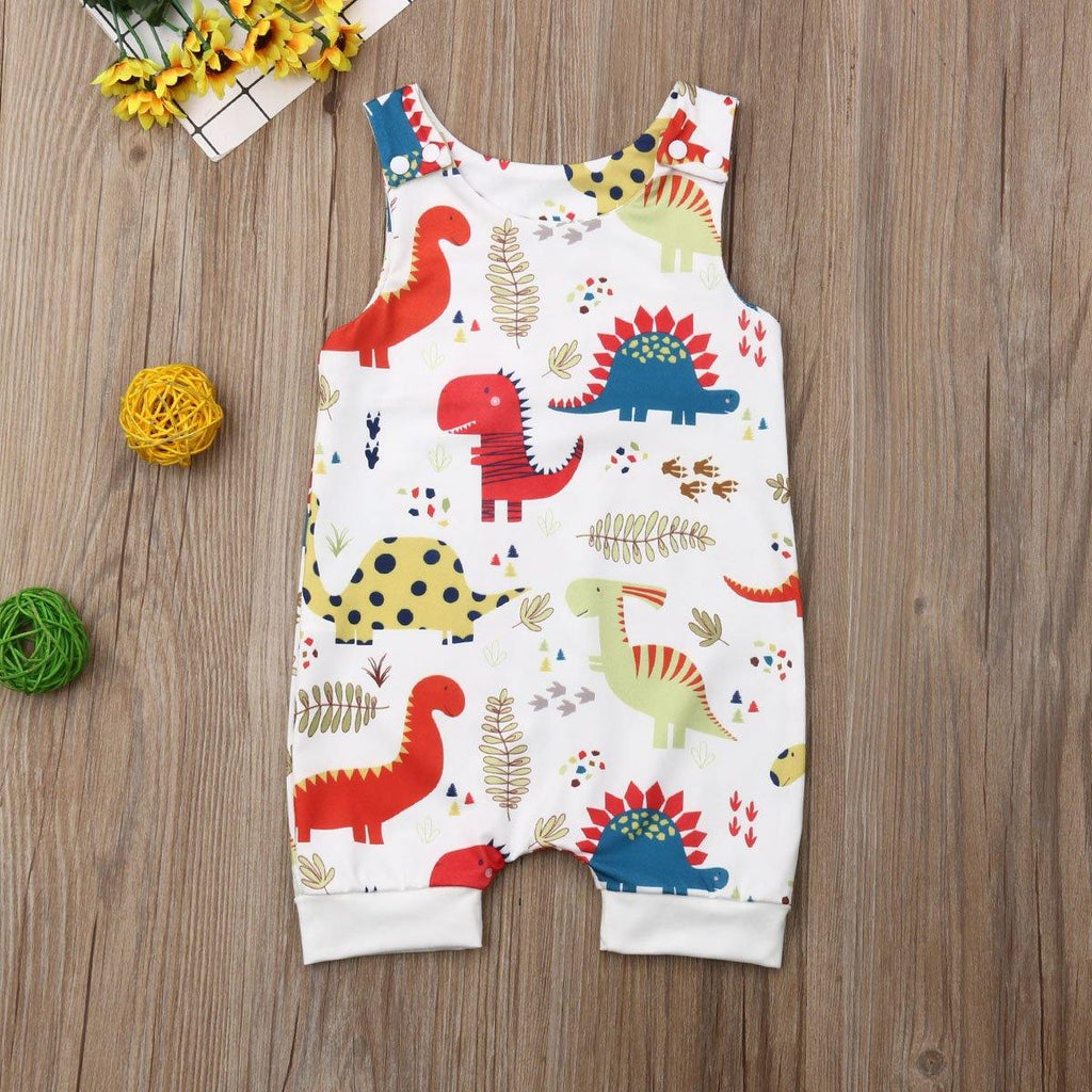 Dino Sleeveless Romper | 6-24M - MonkeyPiggy