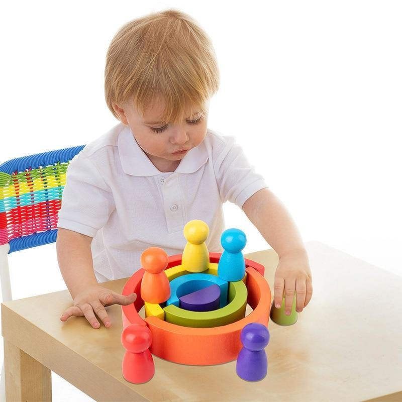 Wooden Rainbow Building Blocks - MonkeyPiggy