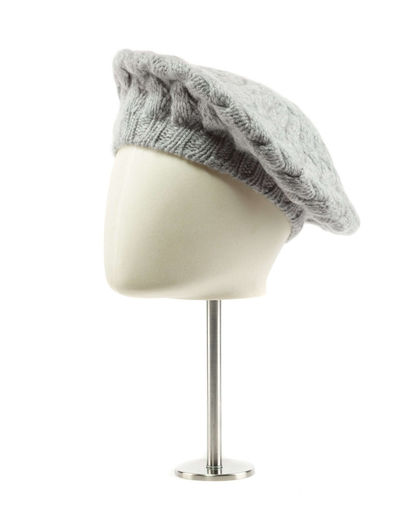 Light grey cashmere beret beanie