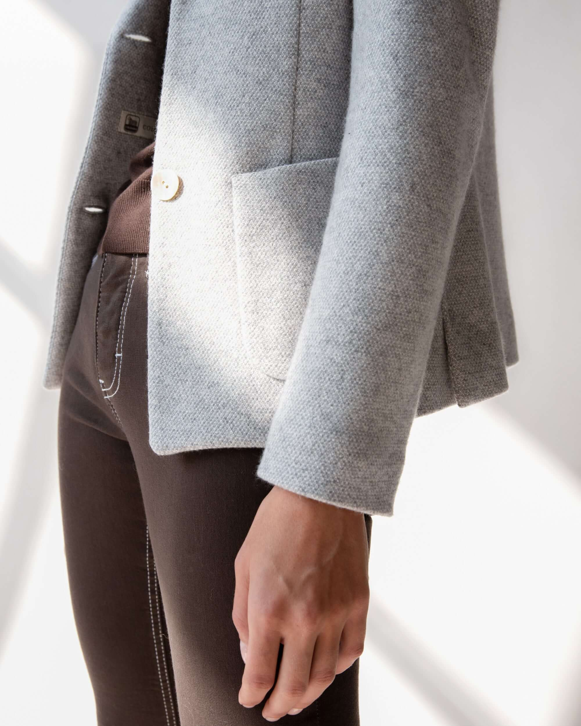 Womens Grey cashmere and silk balzer - Lanificio Colombo