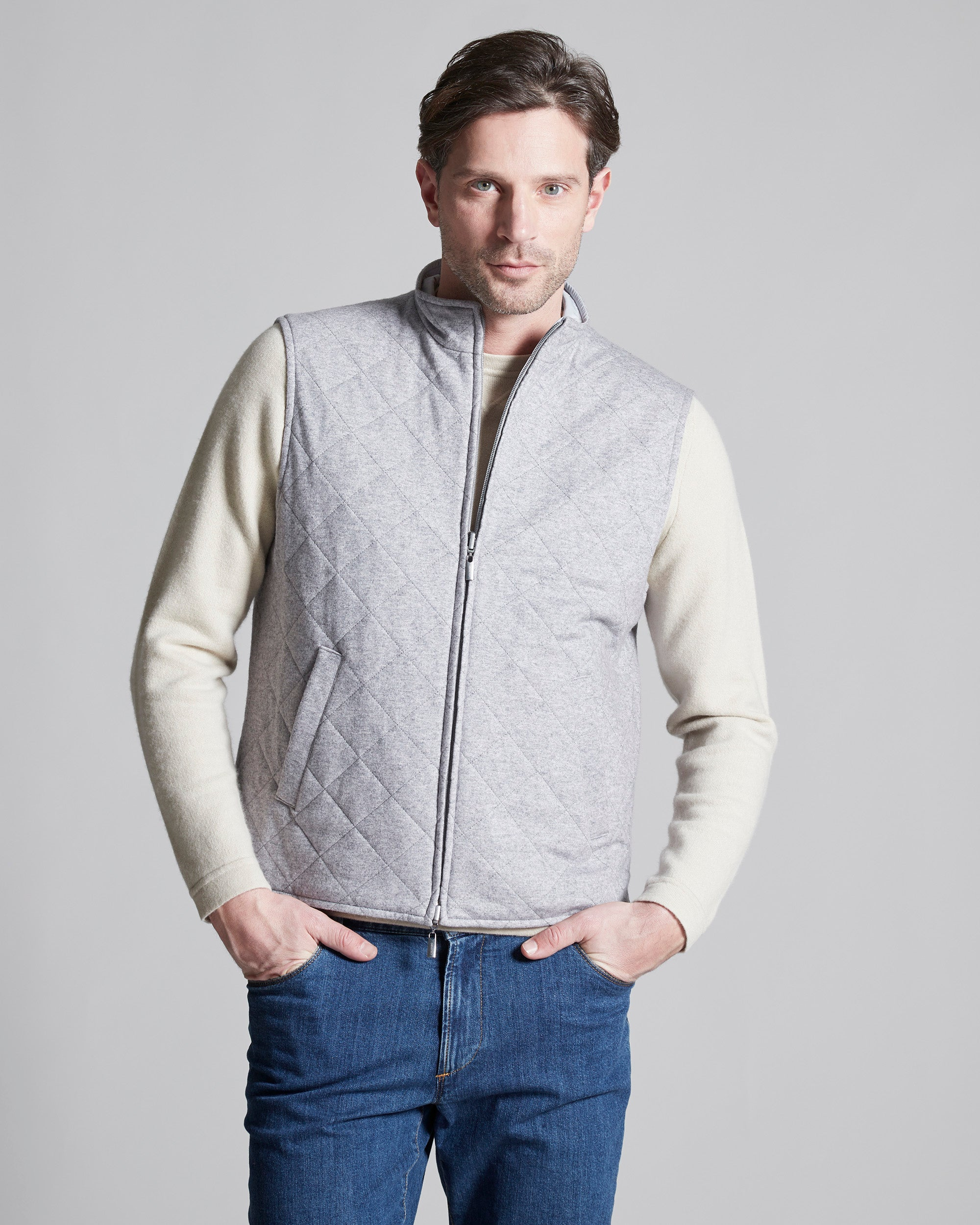 Mens Grey/Ice White men's reversible quilted cashmere vest