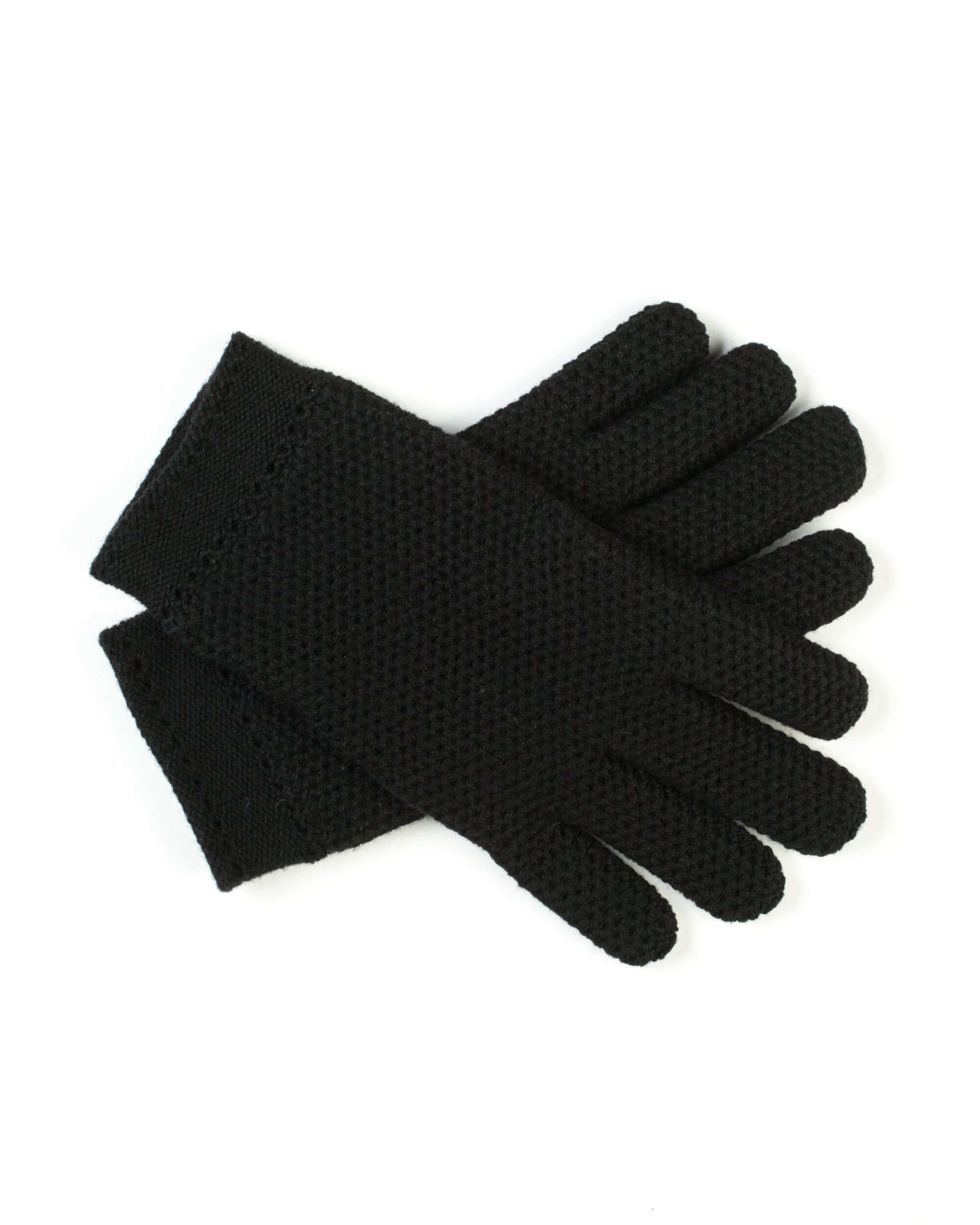 Black honeycomb-weave cashmere gloves