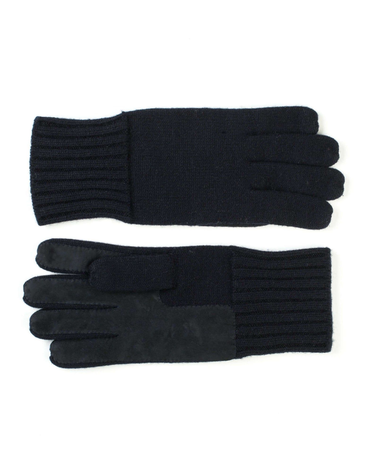 Blue cashmere men's gloves with Suede palm