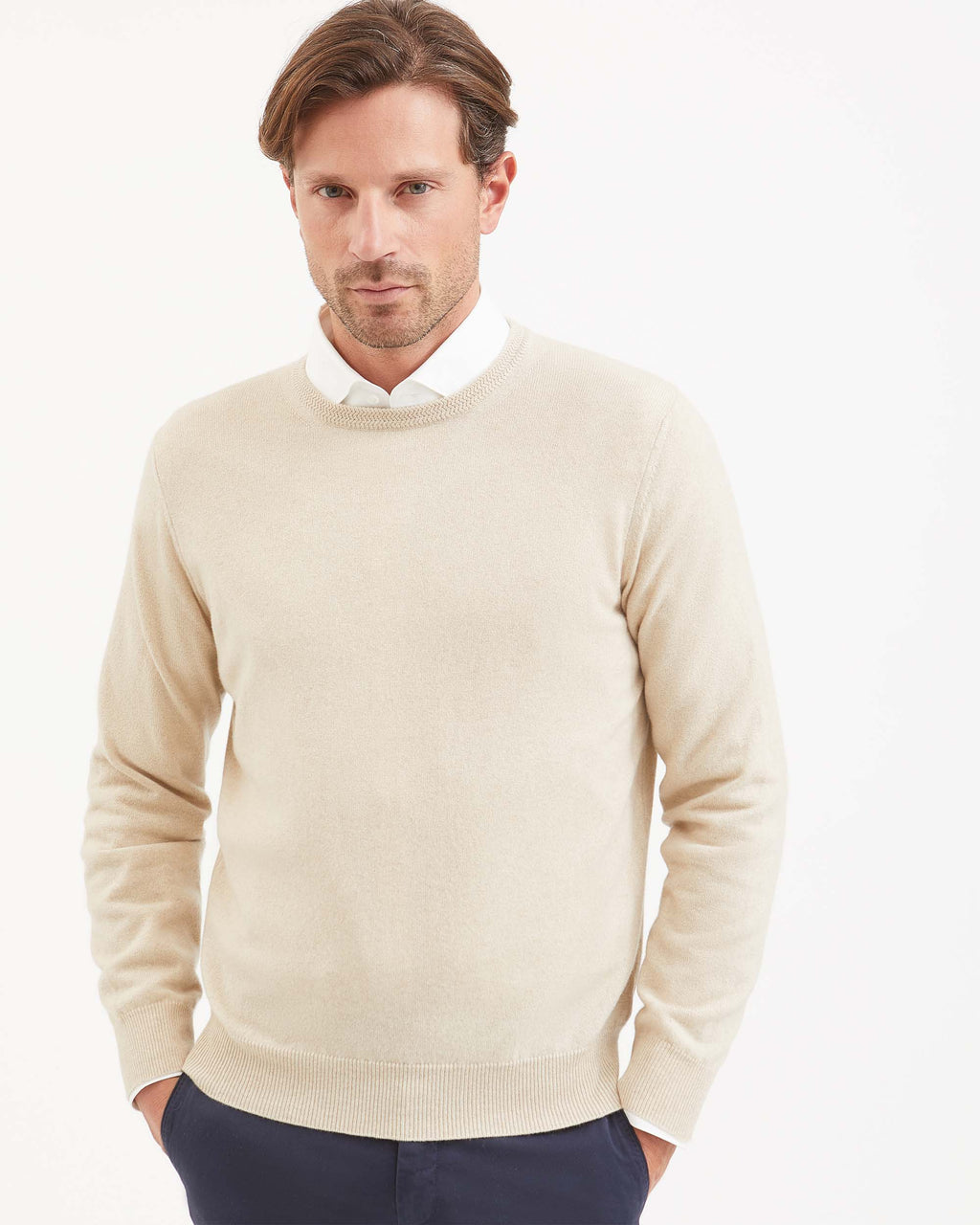 Mens Natural beige kid cashmere round-neck sweater