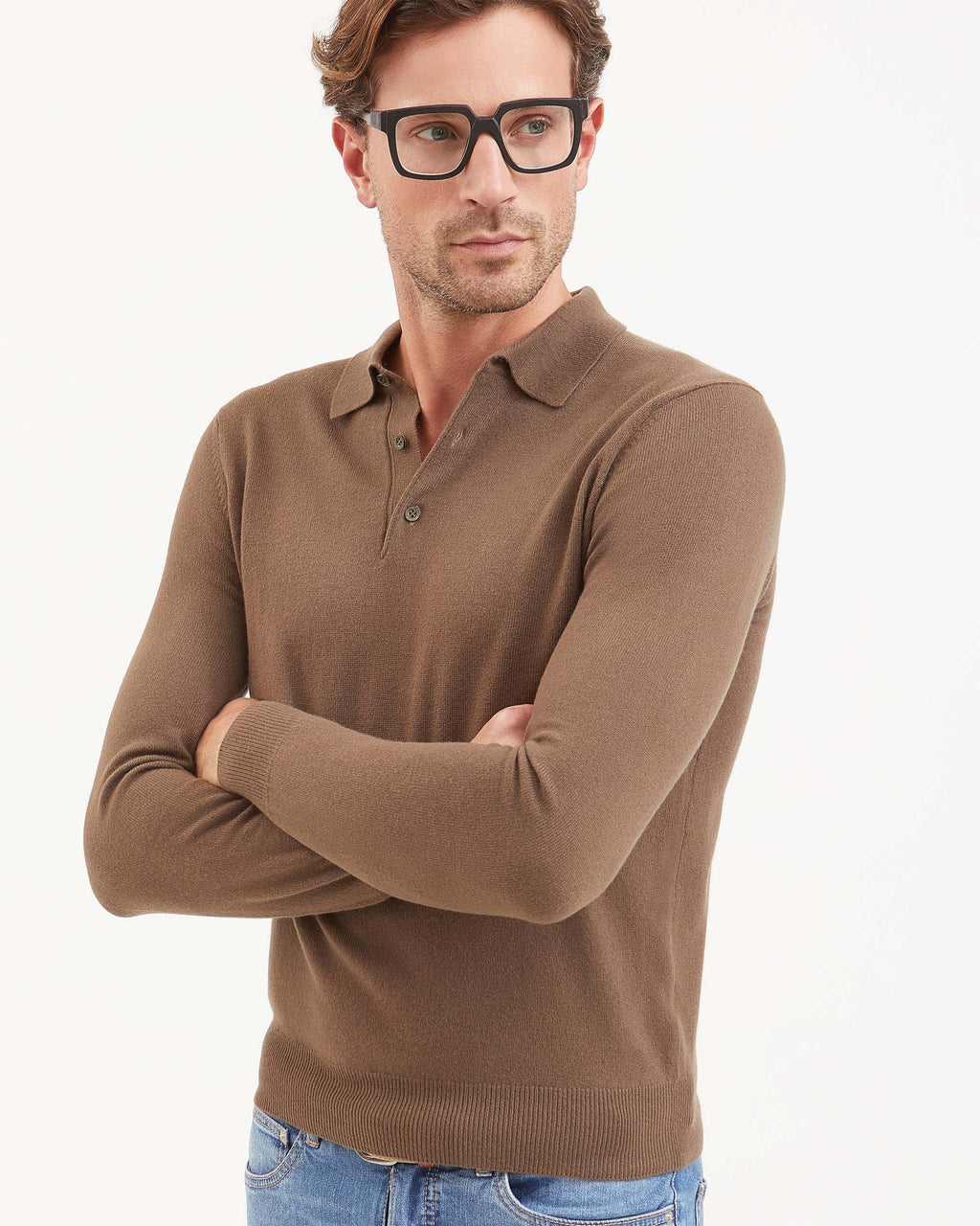 Mens Brown cashmere polo shirt with long sleeves