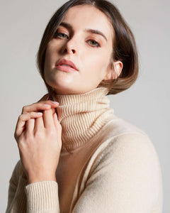 Womens Beige kid cashmere turtleneck sweater