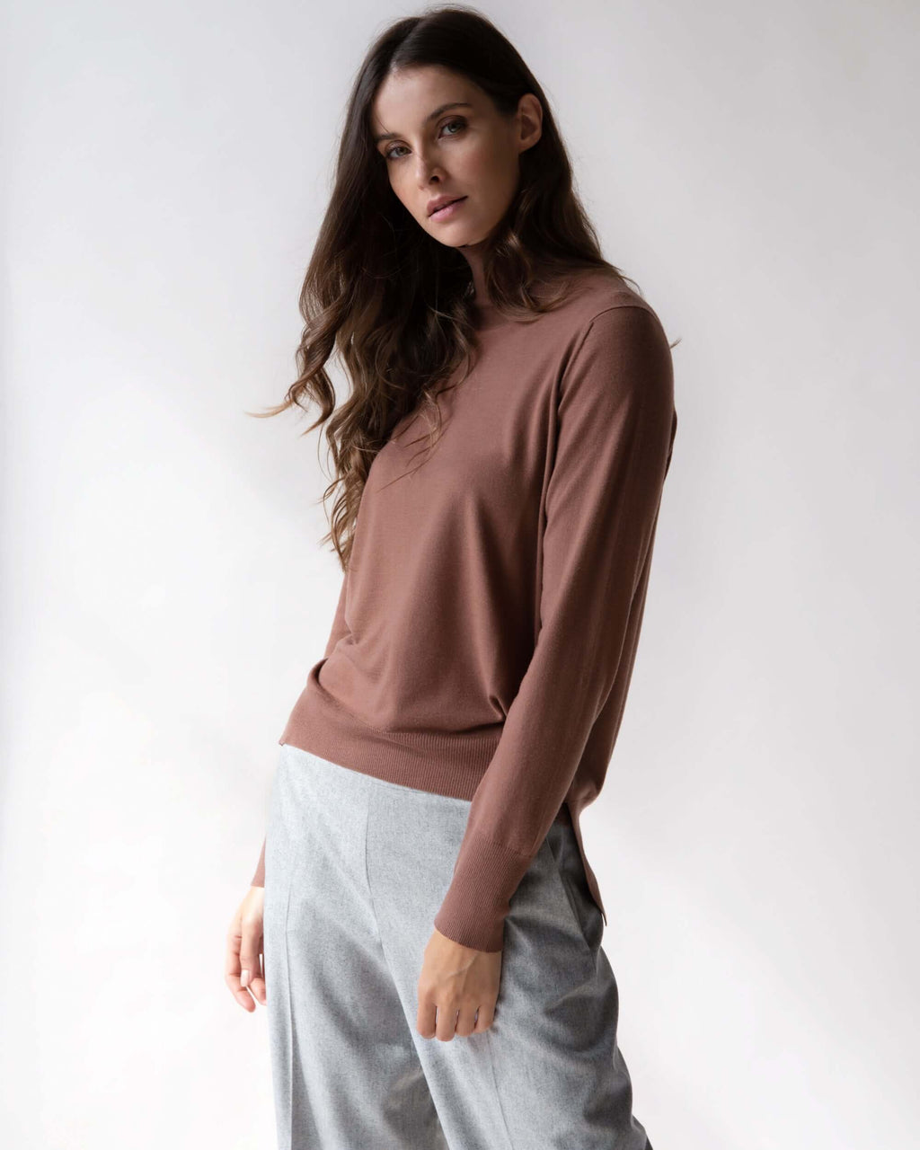 Womens Light brown kidwool turtleneck