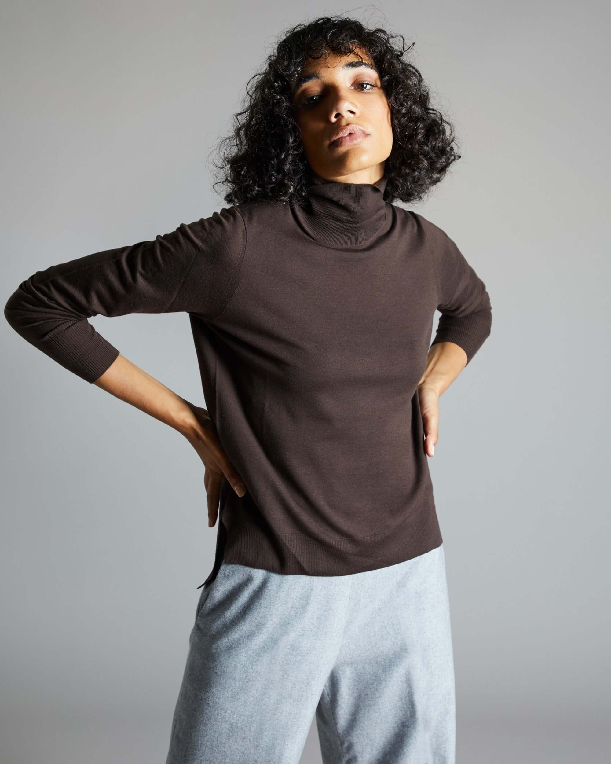 Womens Dark brown kidwool turtleneck