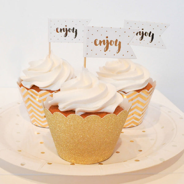Cupcake Topper Enjoy Dorado