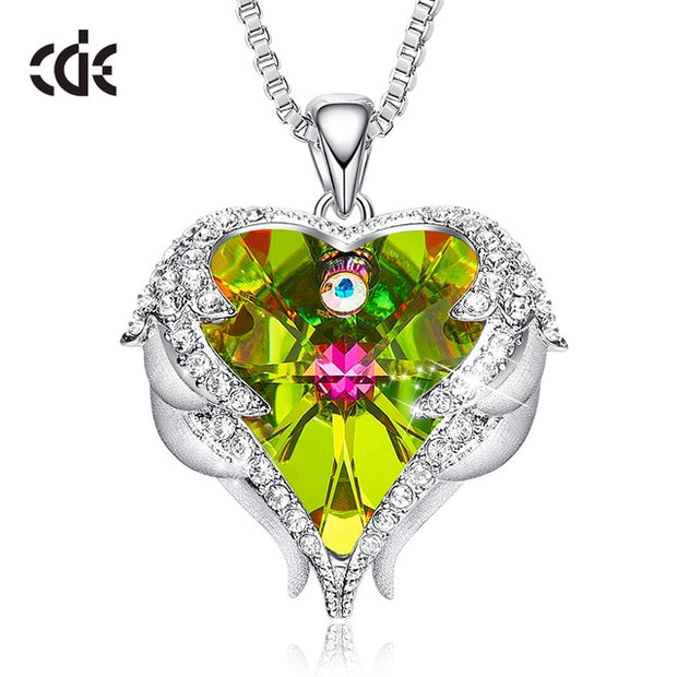 Crystals Angel Wings Heart Necklace - BRYCOS