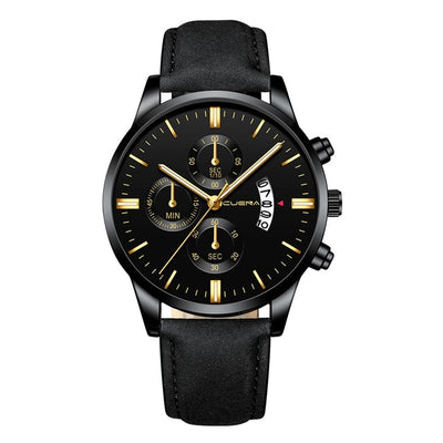 Stainless Steel Case Leather Band Watch - BRYCOS