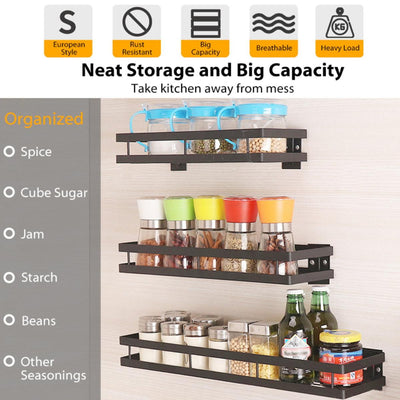 Kitchen Wall Mount Spice Jar Rack - BRYCOS