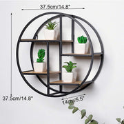 Industrial Style Wooden Round Display Rack - BRYCOS