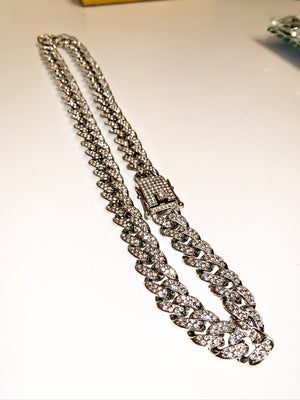 White Gold Iced Cuban Link Chain