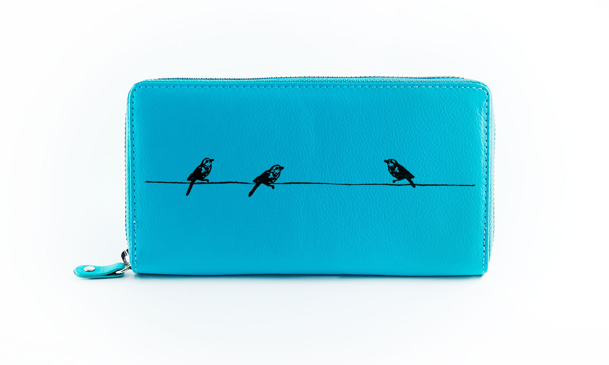 Clutch Aqua Birds on a Wire in Black Ink