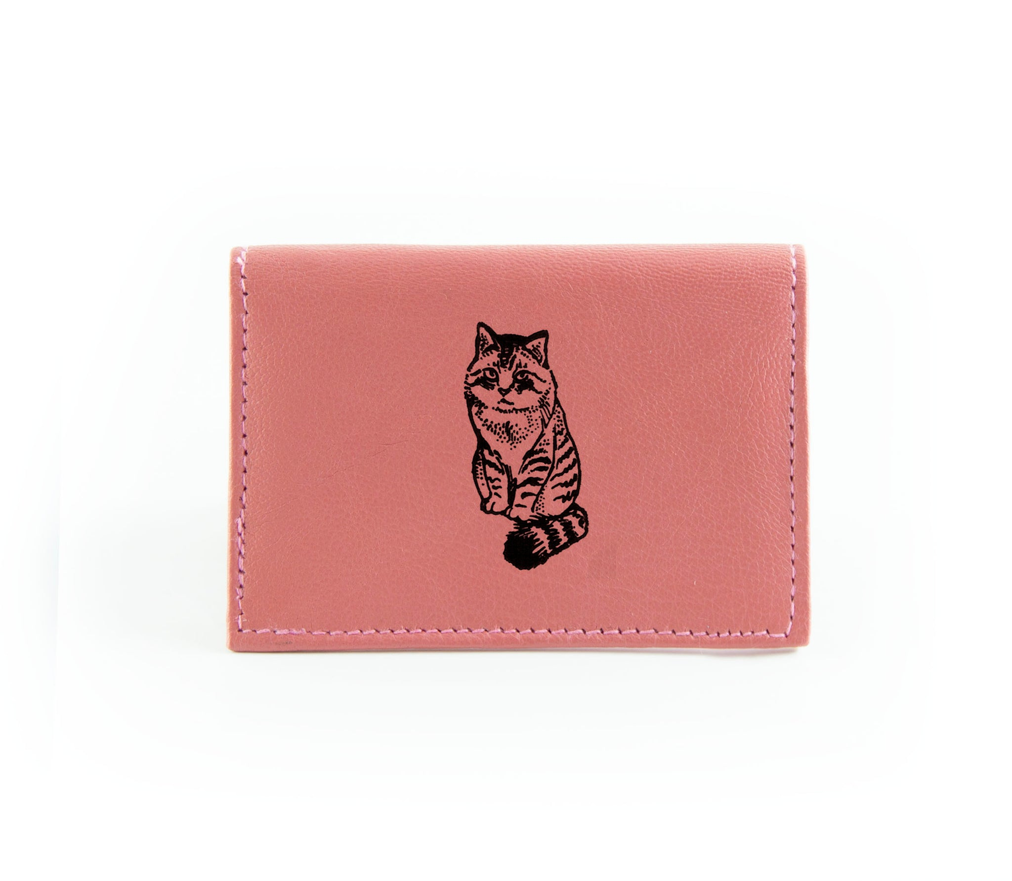The Night Out Card Holder Mauve Cat in Black Ink