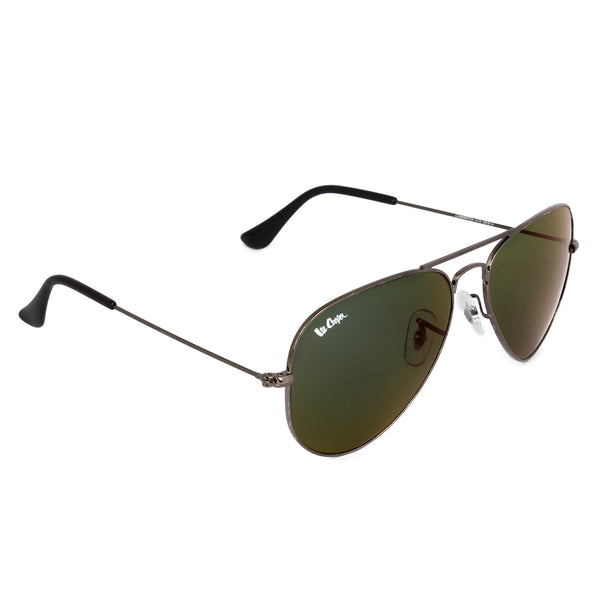 Grey Aviator Metal Framed Polycarbonate Blue Mirrored Sunglasses Eyekaa