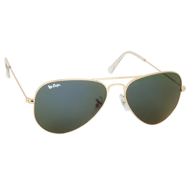 Golden Framed Aviator Polycarbonate Blue UV Protected Lens Sunglasses Eyekaa