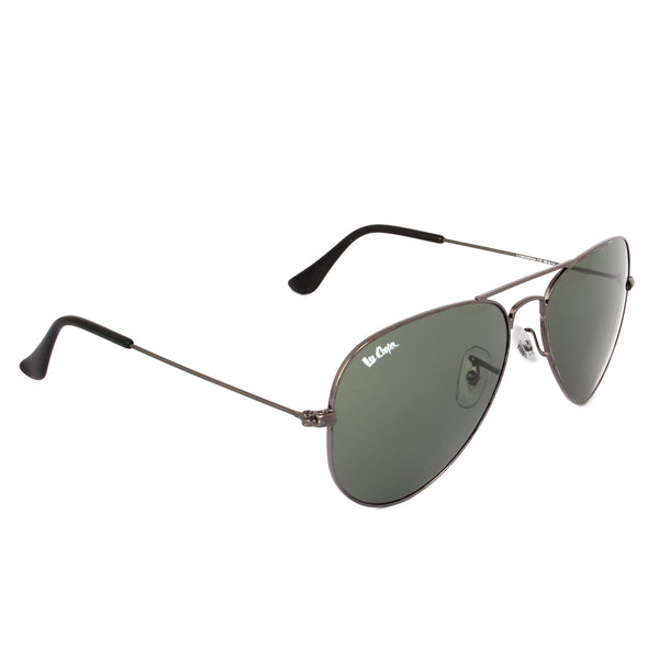 Grey Aviator Metal Polycarbonate Green UV Protected Lens Sunglasses Eyekaa