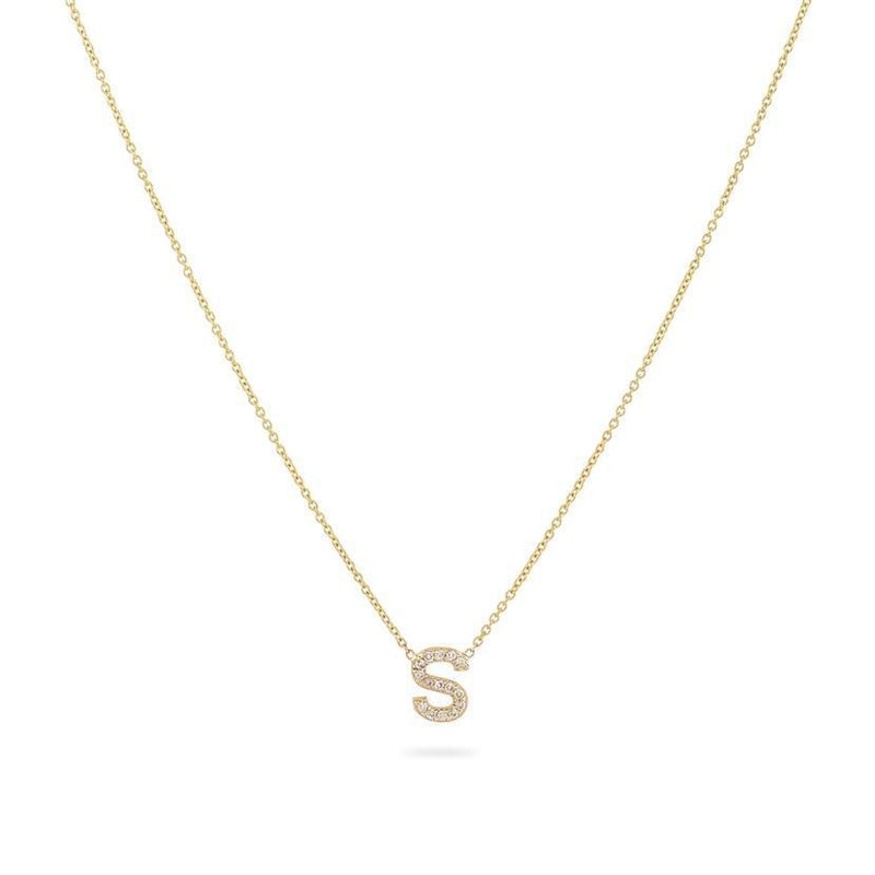 Diamond Initial Drop Necklace
