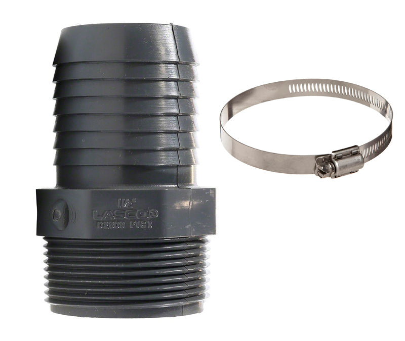 "1.5"" Barbed PVC Nipple and Hose Clamp Kit"