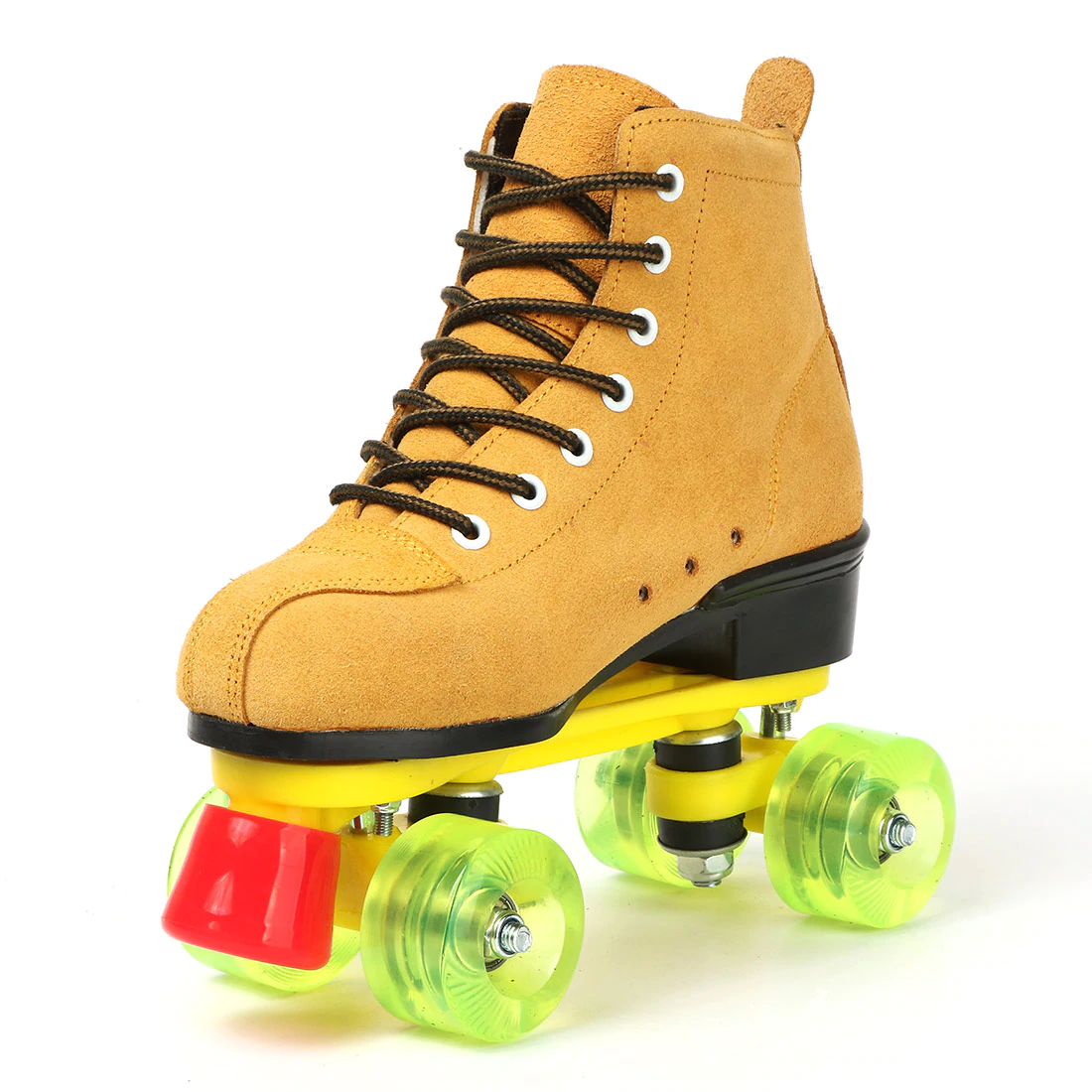 Cowhide Yellow and Green Quad Roller Skates