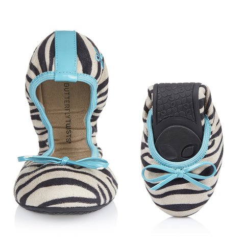 Butterfly Twists Miss Cleo in White Zebra/Aqua